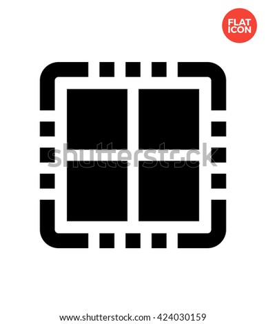 quad core cpu icon flat style
