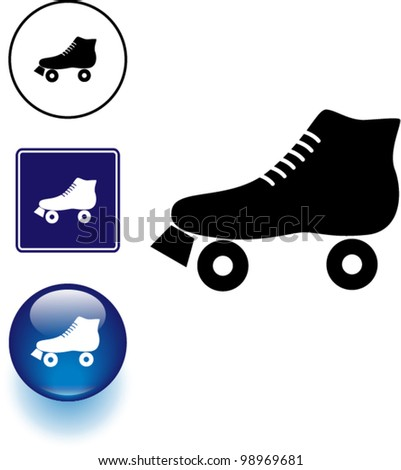 quad roller skate symbol sign and button