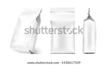 Quad seal bag package mockup. Vector illustration isolated on white background. Can be use for coffee, tea, salt, snack, flour and etc. Packaging mockup ready for your design. EPS10.