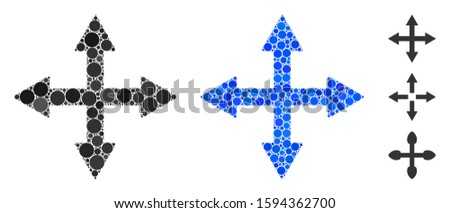 Quadro arrows mosaic of spheric dots in variable sizes and color tinges, based on quadro arrows icon. Vector dots are grouped into blue mosaic. Dotted quadro arrows icon in usual and blue versions. Foto stock ©