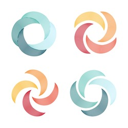 Quadrocopter logo. Vector logos. Rotate. Funnel icons.