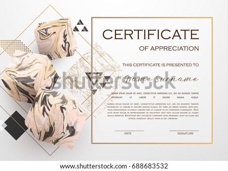 Certificate Design With Luxury Golden Shapes Diploma Template