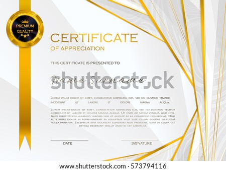 Certificate template design with golden pattern download free qualification certificate of appreciation female design with halftone elegant luxury and modern pattern yadclub Images