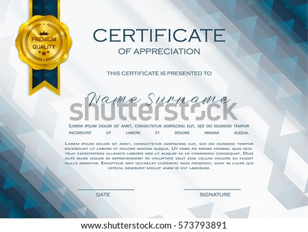 Modern certificate of appreciation template with geometric shape qualification certificate of appreciation geometrical design elegant luxury and modern pattern best quality yadclub Gallery