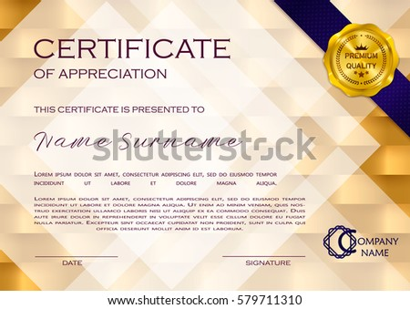 luxury certificate of diploma with golden ribbon download free
