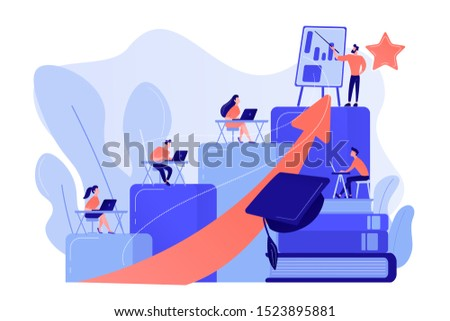 Qualification increase course, skills improvement coaching. Professional development, school authority initiative, training for teachers concept. Pinkish coral bluevector isolated illustration