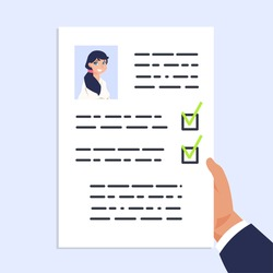 Qualification personal document. CV documentation. Man holding sheet of paper with photo and identification information. Hiring manager reading candidate resume for employment. Vector illustration
