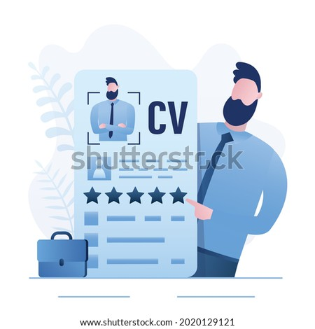Qualified employee holds an excellent resume. Good portfolio for hiring. Confident man is specialist in search for highly qualified job. Applicant with cv closeup. Flat vector illustration