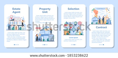 Qualified real estate agent or realtor mobile application banner set. Realtor assistance and help in house selection and mortgage contract. Real estate company. Vector illustration