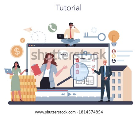 Qualified real estate agent or realtor online service or platform. Realtor assistance and help in mortgage contract. Online tutorial. Vector illustration