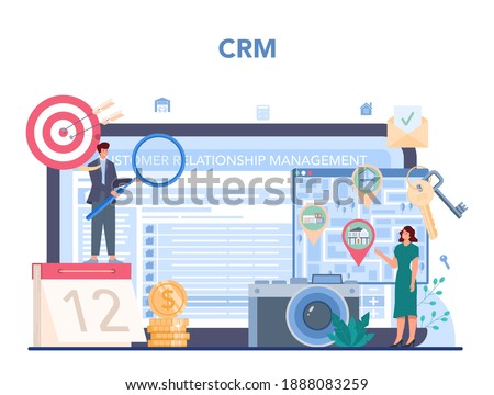 Qualified real estate agent or realtor online service or platform. Realtor help in house selection and mortgage contract. CRM. Vector illustration