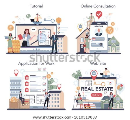 Qualified real estate agent or realtor online service or platform set. Realtor assistance and help in mortgage contract. Online consultation, tutorial, application, website. Vector illustration