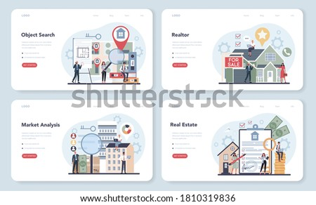 Qualified real estate agent or realtor web banner or landing page set. Realtor assistance and help in mortgage contract. Real estate searching, market analysis. Vector illustration