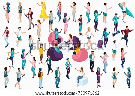 Qualitative Isometry, 3D characters of teenagers and young entrepreneurs around the text, co work, freelancers, students. Vector illustration.