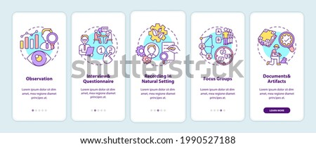 Qualitative research techniques onboarding mobile app page screen with concepts. Method of collect and process walkthrough 5 steps graphic instructions. UI vector template with RGB color illustrations Foto d'archivio ©