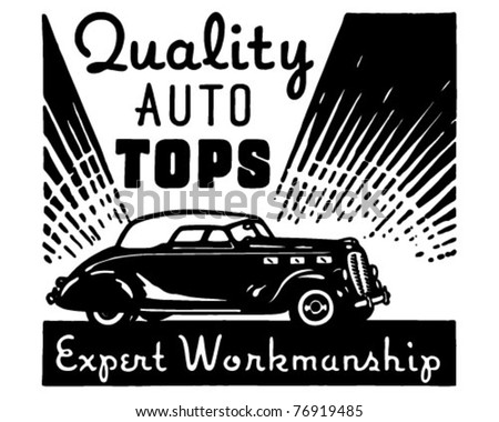 Quality Auto Tops - Retro Ad Art Banner