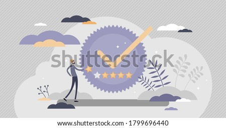 Quality badge with premium product certificate guarantee tiny person concept. Best symbol for awarded services or goods vector illustration. High performance rating with stars as satisfaction approval Foto stock ©