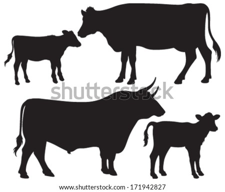 Quality black and white vector silhouettes of a bull, a cow and two calves