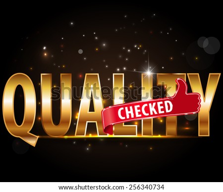 quality checked golden typography text with thumbs up sign - vector eps10 #256340734