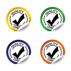 Quality checked sticker, button, label and sign set - vector