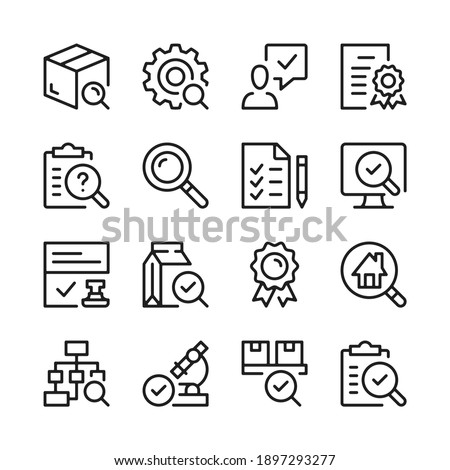 Quality control and inspection line icons set. Modern graphic design concepts, simple outline elements collection. Vector line icons Stock foto ©