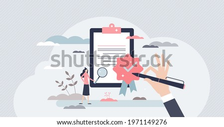 Quality control and product satisfaction research check tiny person concept. Best standard check and deal evaluation with closeup expertise and inspection for errors or mistakes vector illustration. Stockfoto ©