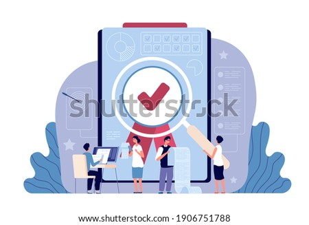 Quality control. Controlling business, iso standard certificate accept. Validation documents or authorization, flat work people utter vector concept Stock photo ©