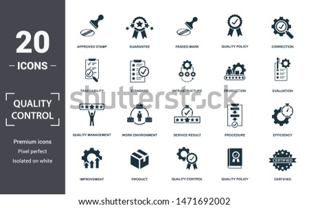 Quality Control icon set. Contain filled flat correction, efficiency, infrastructure, quality policy, traceability, production, guarantee icons. Editable format.