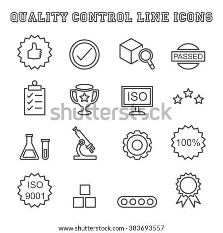 quality control line icons, mono vector symbols