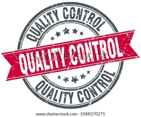 quality control round grunge ribbon stamp