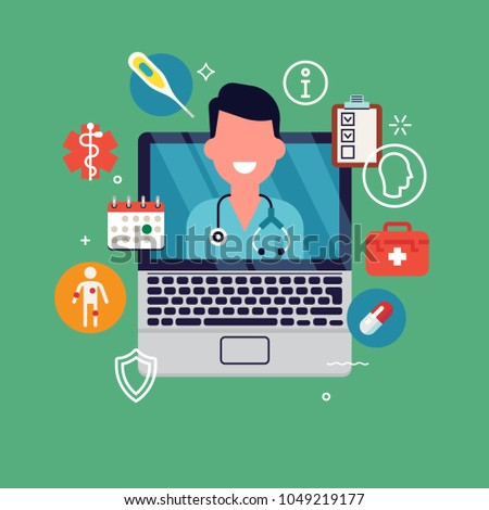 Quality flat vector illustration on remote healthcare consultation or telemedicine with medic on laptop display and healthcare themed icons