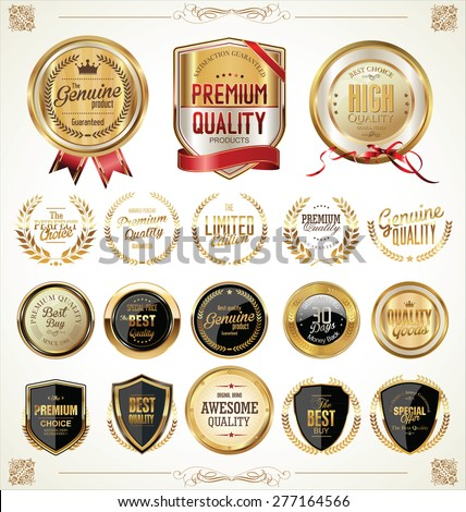 Quality golden badges and labels collection stock photo