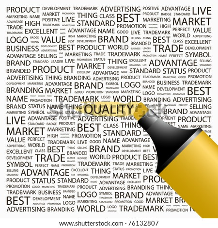 QUALITY. Highlighter over background with different association terms. Vector illustration.