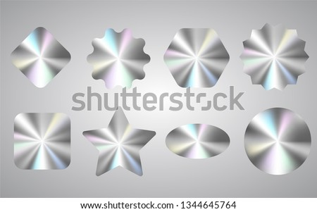 Quality holographic sticker set isolated on white. Package authentity seal with round metallic gradient. High level product equivalent. Brand authentity protection of different shapes.
