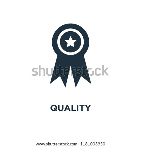 Quality icon. Black filled vector illustration. Quality symbol on white background. Can be used in web and mobile.