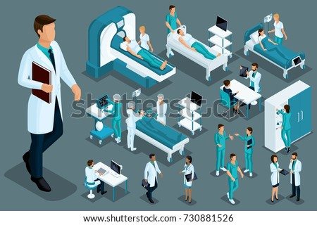 Quality Isometrics, medical workers and patients, hospital bed, MRI, X-ray scanner, ultrasound scanner, dental chair, operating room.