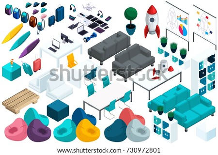Quality Isometry, a set of colorful furniture for work and leisure of young entrepreneurs, a laptop, a tablet. Create your office for advertising and presentations. stock photo