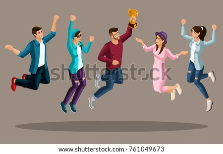 Quality Isometry, 3D teenagers, generation Z, jumping are enjoying themselves, having a great set for advertising concepts.