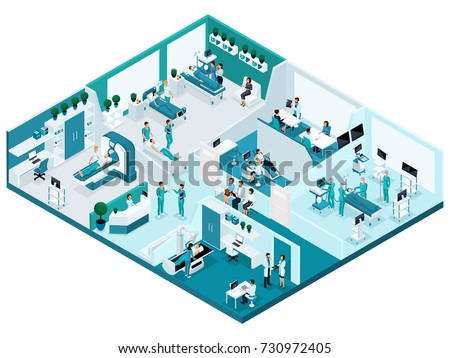 Quality Isometry, the process of the hospital, detailed characters and medical equipment. Concept for advertising and presentations.
