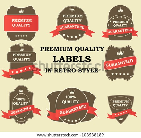 Quality Labels in retro vintage design