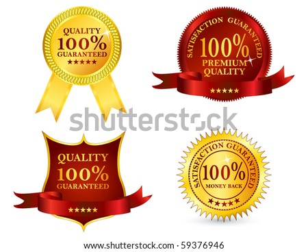 Quality labels, vector illustration - stock vector