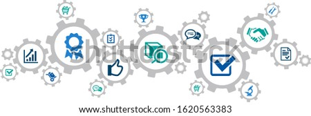 quality management and quality assurance vector illustration. Concept with connected icons related to customer satisfaction, iso and warranty.