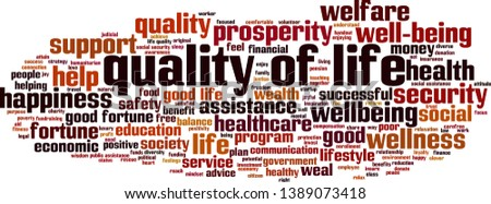 Quality of life cloud concept. Collage made of words about quality of life. Vector illustration