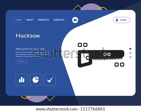 Quality One Page Hacksaw Website Template Vector Eps, Modern Web Design with landscape illustration, ideal for landing page, Hacksaw icon