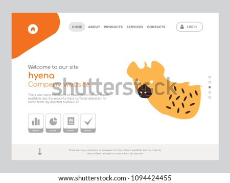 Quality One Page hyena Website Template Vector Eps, Modern Web Design with flat UI elements and landscape illustration, ideal for landing page