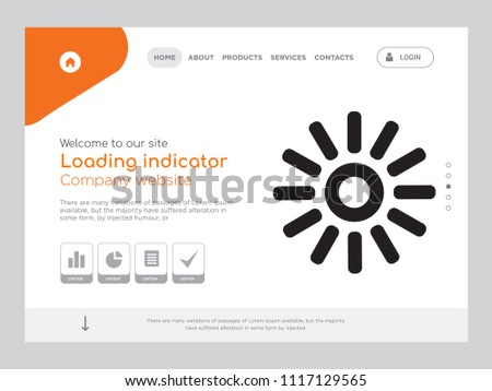 Quality One Page Loading indicator Website Template Vector Eps, Modern Web Design with landscape illustration, ideal for landing page, Loading indicator icon