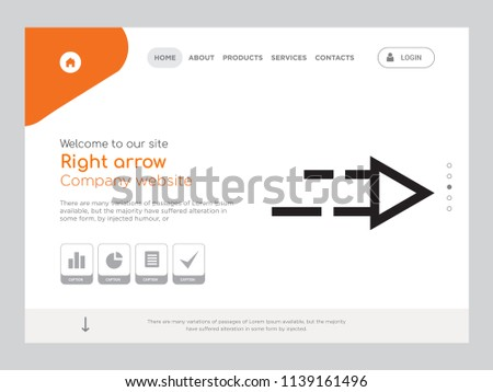Picnetz Quality One Page Right Arrow Website Template Vector Eps