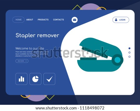 Quality One Page Stapler remover Website Template Vector Eps, Modern Web Design with landscape illustration, ideal for landing page, Stapler remover icon