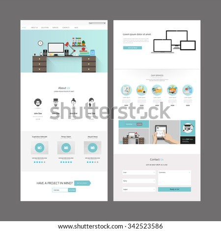 Quality One Page Website Template Vector Eps10, Modern Web Design with flat UI elements. Ideal for Business layout