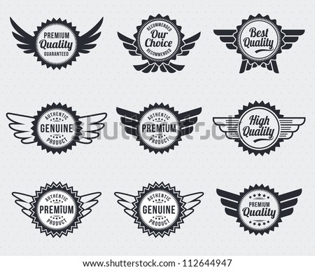 Quality premium label badges - retro vintage style